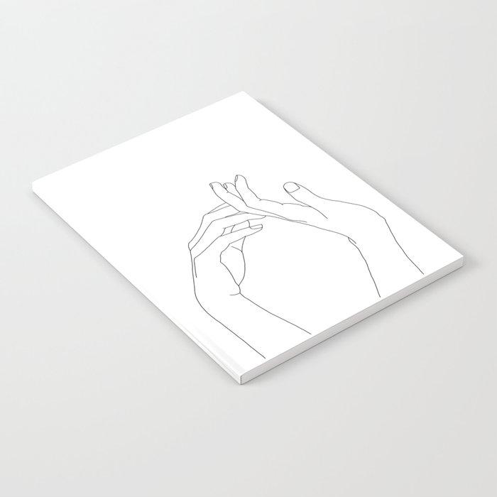 Hands line drawing illustration - Abi Notebook
