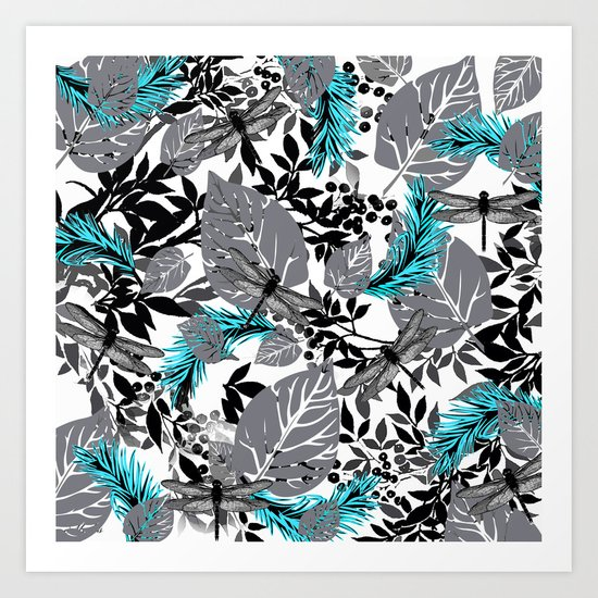 PALM LEAF DRAGONFLY BLUE FERN TOILE Art Print