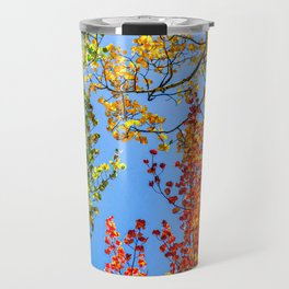 Aspen Color Candy // Green Yellow Red and Orange Fall Leaf Colors Travel Mug