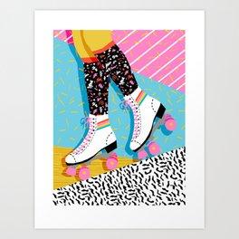 Steeze - 80's memphis rollerskating rad neon trendy art gifts throwback retro vibes Art Print