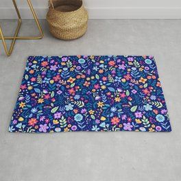 "Cute Floral pattern in the small flower. ""Ditsy print"". Vintage. Rug"