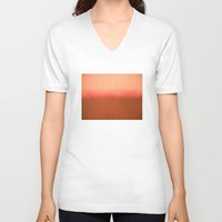 rothko V-neck T-shirts featuring Orange Pink - Mark Rothko by Rothko