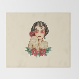 The tattooed woman Throw Blanket