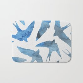 Watercolor birds - sapphire ink Bath Mat