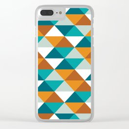 Warm Colored triangle pattern, abstract polygonal design (Sand and Sky color set 3 ) Clear iPhone Case