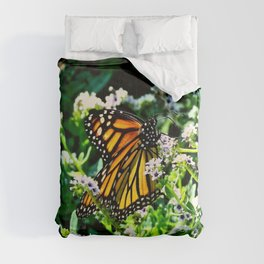 Monarch on Fiddlehead Blossoms Comforters