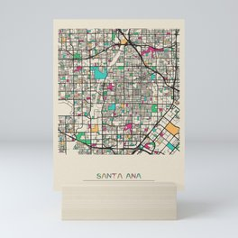 Colorful City Maps: Santa Ana, California Mini Art Print