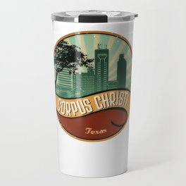 Corpus Christi City Skyline Texas Retro Design Vintage 80s Travel Mug
