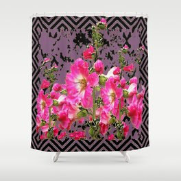 Modern Art Fuchsia Pink Colored Hollyhocks Black-Puce Pattern Shower Curtain
