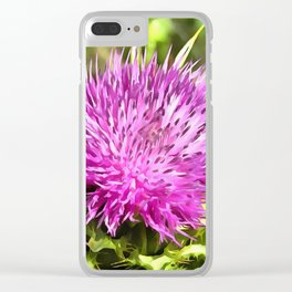 Purple Thistle Wildflower Clear iPhone Case