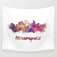 minneapolis Wall Tapestries featuring Minneapolis skyline in watercolor by Paulrommer