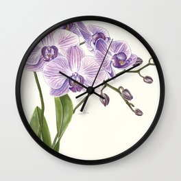 Purple phalaenopsis artwork Wall Clock