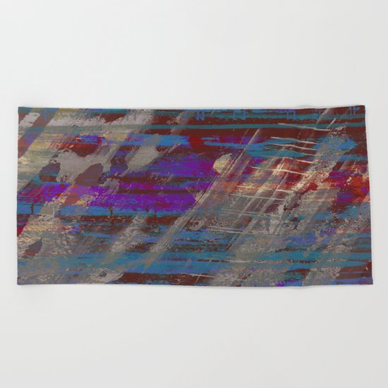 Depth - Abstract, Textured Oil Painting Beach Towel