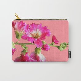 Pink Coral Hollyhock Flowers Blooming Design Carry-All Pouch