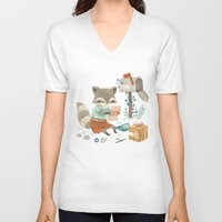 raccoon V-neck T-shirts featuring Raccoon Post by Teagan White