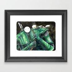 Moonbot #2: Green Framed Art Print