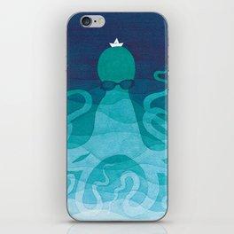 Octopus, sea creature, animals, ocean watercolor teal blue iPhone Skin