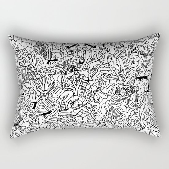Lots of Bodies Doodle in Black and White Rectangular Pillow