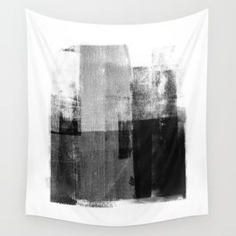 Black and White Minimalist Industrial Abstract Wall Tapestry