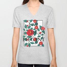 Pattern-red camellia Unisex V-Neck