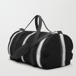 Skinny Strokes Gapped Vertical Off White on Black Duffle Bag