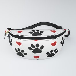 Dog Paws, Traces, Animal Paws, Hearts - Red Black Fanny Pack