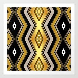 Gold Black Art Decor Diamonds v1 Art Print
