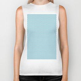 Modern blue white geometric polka dots pattern Biker Tank