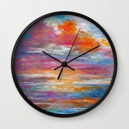 Abstract colorful texture background with paint strokes Wall Clock