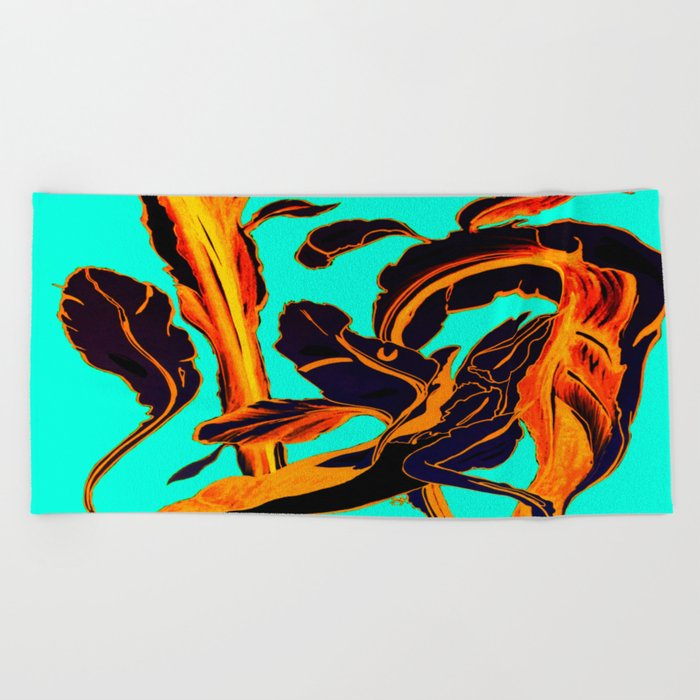 Blue Marker Teal Fire Phoenix Beach Towel