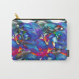 FIGHTING FISHES BETTA - Animals | Psychedelic | 70's | Abstract | Pop | Surrealism | Nature Carry-All Pouch