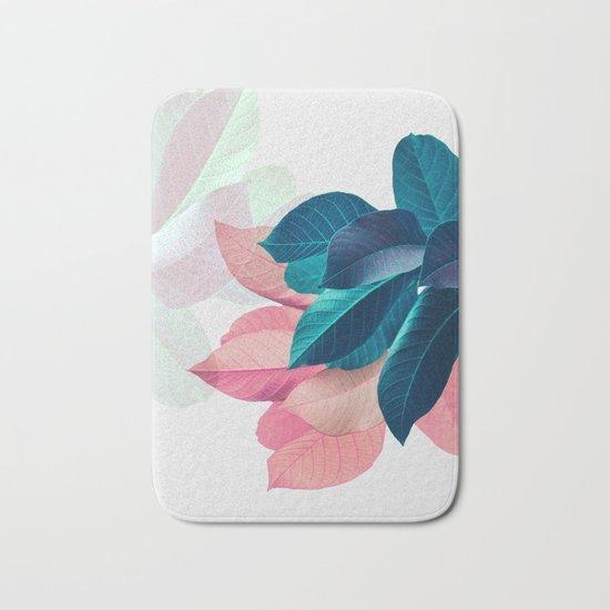 Pink and Blue Leaf Bath Mat