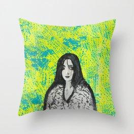neon girl Throw Pillow