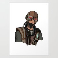 borderlands Art Prints featuring borderlands mordecai by  Steve Wade ( Swade)