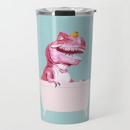 Pink T-Rex in Bathtub Travel Mug