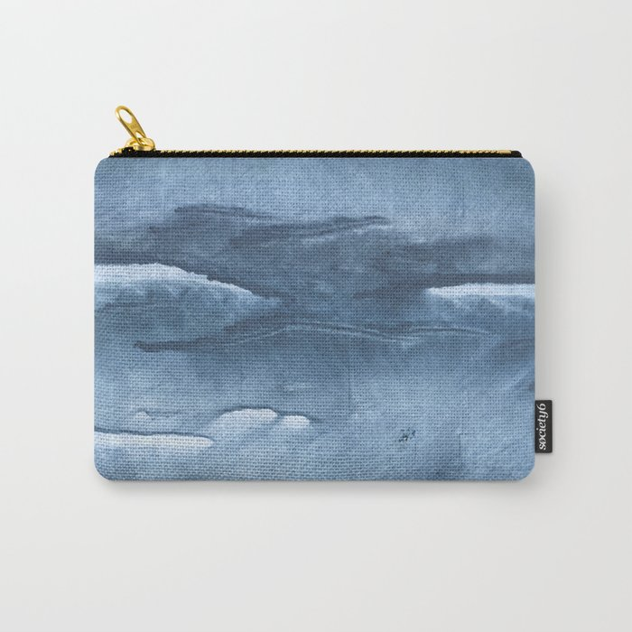 Gray Blue clouded wash drawing painting Carry-All Pouch