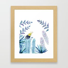 Cockatiel with tropical foliage Framed Art Print