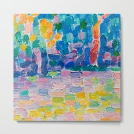 Beautiful Whimsical Bright Modern Colorful Abstract Textured Metal Print