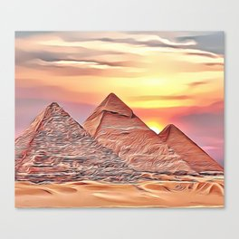 Pyramid Sunset Airbrush Artwork Canvas Print