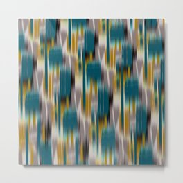 abstract ikat in dark teal and olive Metal Print