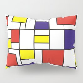 Homage to Mondrian in red blue and yellow Pillow Sham