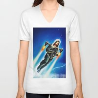 christ V-neck T-shirts featuring Cosmic Christ by Saint Lepus