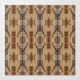 Orange Khaki Dark Brown Mosaic Pattern Canvas Print