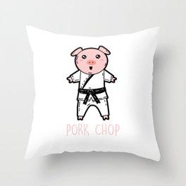 Pork Chop - Pig Karate Martial Arts Throw Pillow