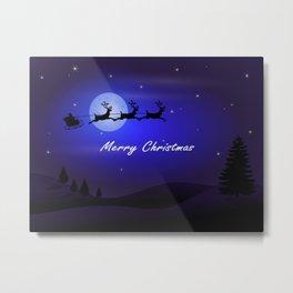 Reindeer pulling Santa's Sleigh Metal Print