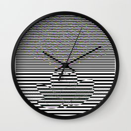 Lotus Flower and Stripes Disco Background Wall Clock