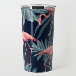 Summer Flamingo Jungle Night Vibes #1 #tropical #decor #art #society6 Travel Mug