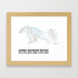 Okemo Mountain Resort, VT - Minimalist Trail Art Framed Art Print