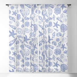 Blue Seashell Print Sheer Curtain