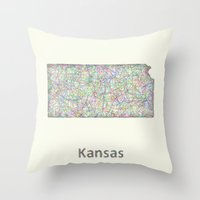 kansas Throw Pillows featuring Kansas map by David Zydd